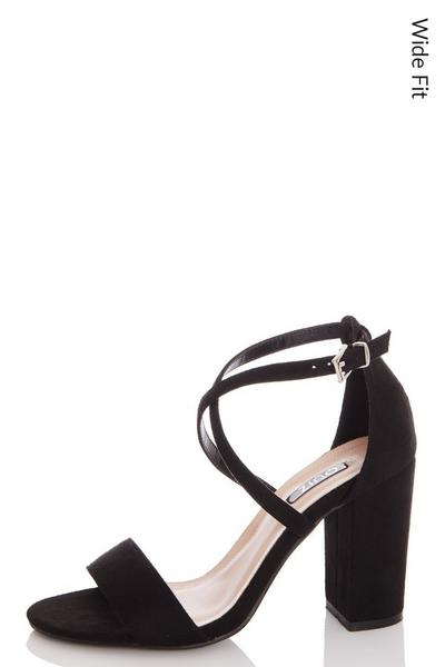 Wide Fit Black Faux Suede Cross Strap Heeled Sandals